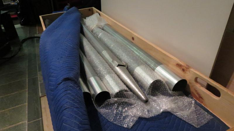 The pipes were shipped in wooden cases.