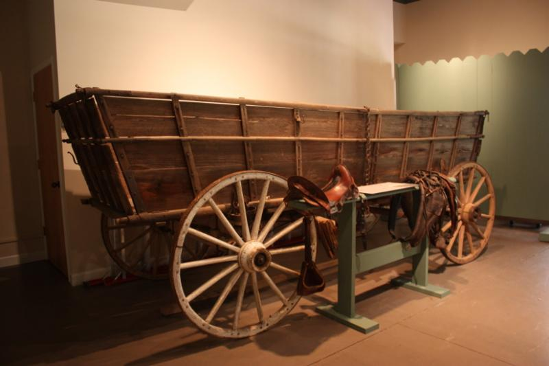 A wagon in the Gaston County Museum's carriage house