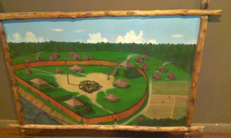 An artist's rendition of the Town Creek Indian Mound as it looked more than 1,000 years ago.