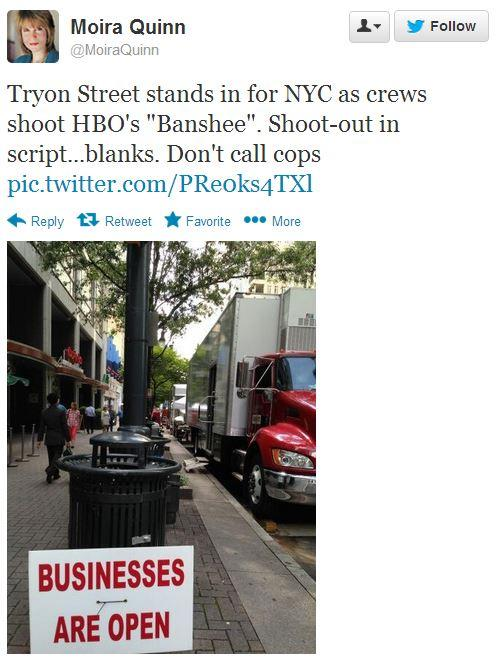 Filming for TV shows Banshee and Homeland has become a regular site on the streets of Charlotte - and on Twitter.
