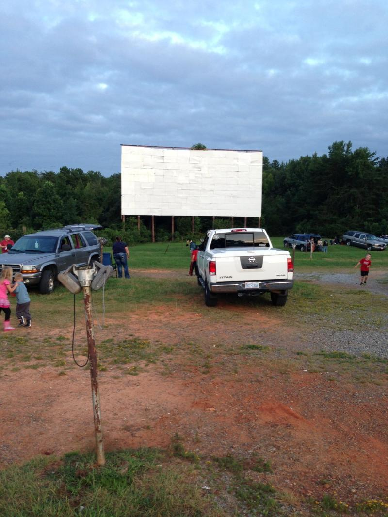 The Bessemer City Kings Mountain Drive-In has a picnic-like atmosphere around dusk