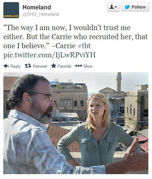 Mandy Patinkin and Claire Danes filming a scene, as captured by Homeland's official Twitter feed.