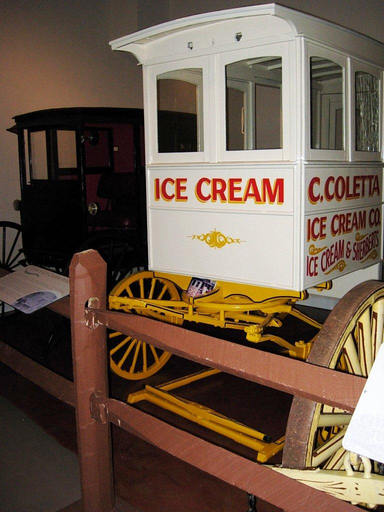 An antique ice cream wagon at the Gaston County Museum