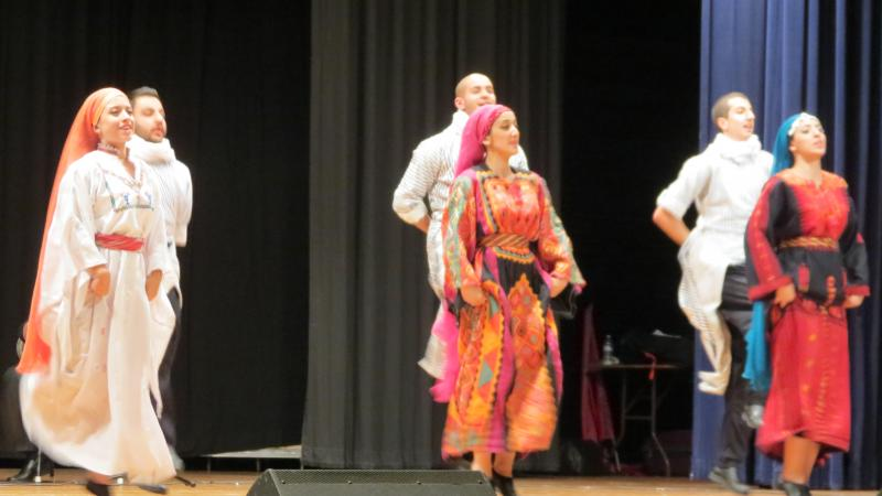 Dancers re-enact a Palestinian wedding scene through dabke.