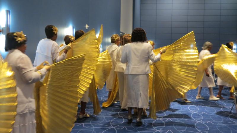 The New Jersey delegation is a popular favorite and frequent winner of awards at the National Baptist Convention's annual Women In White March.