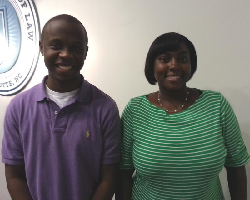 Third-year students Chris Draughn and Lasaundra Spencer are both leaders of the Charlotte School of Law Student Bar Association.
