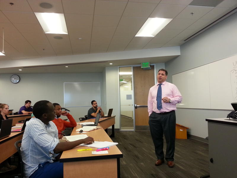 Dan Piar teaches constituional law at the Charlotte School of Law in this 2013 photo.