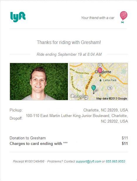 The Lyft smartphone app sends a receipt by email.