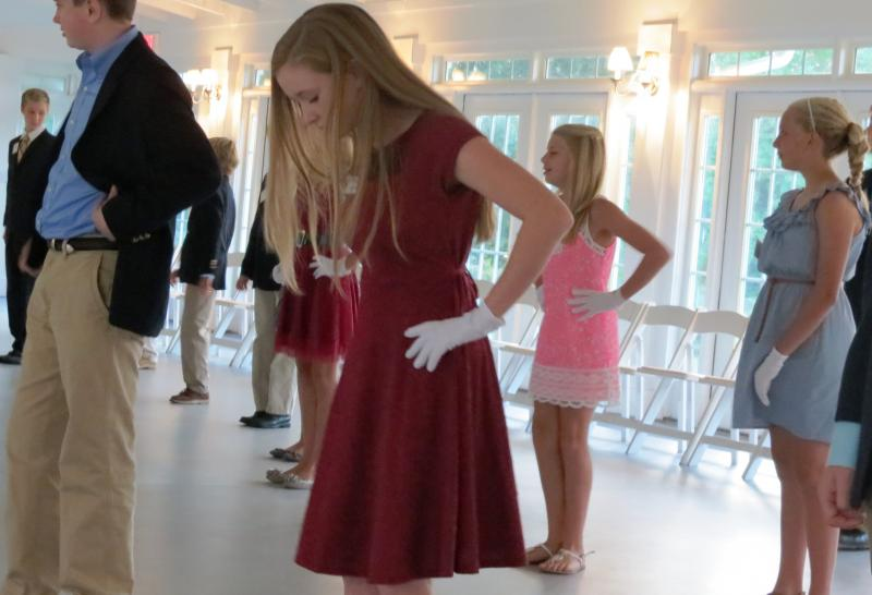 Students learn ballroom dance steps at the Birkdale Golf Club Pavilion.