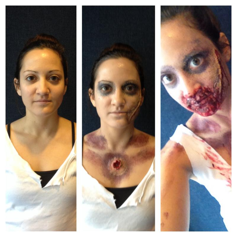 The zombification of our producer Alexia. We can't decide if she just had a really bad night or if she was bitten.