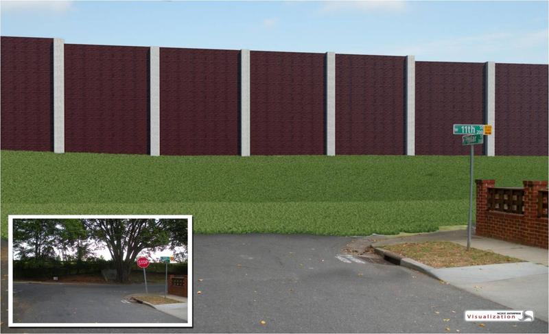 Rendering of noise wall on I-277 near 11th and Poplar Streets in the 4th Ward