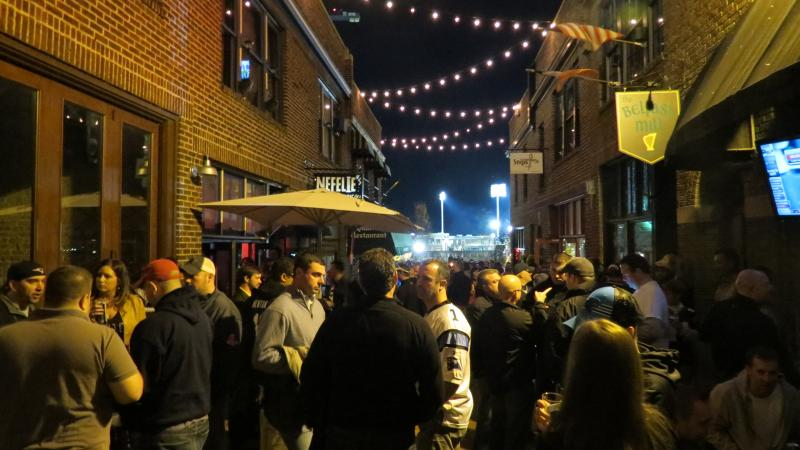 The courtyard in the French Quarter in uptown was slammed Monday night for the game.