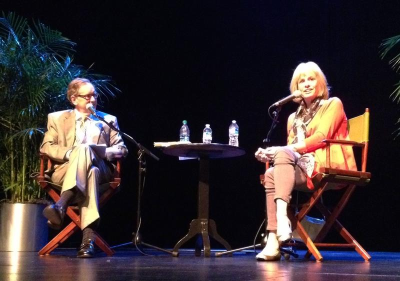 Mike Collins and Kathy Reichs on stage at McGlohon for our 15th Anniversary show.