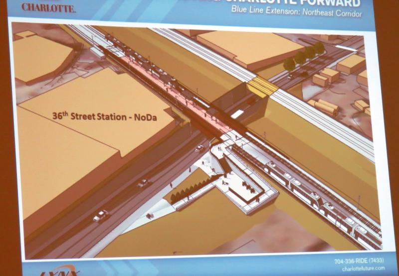At the 36th Street-NoDa station, the street will be dropped under the railroad tracks to improve safety.