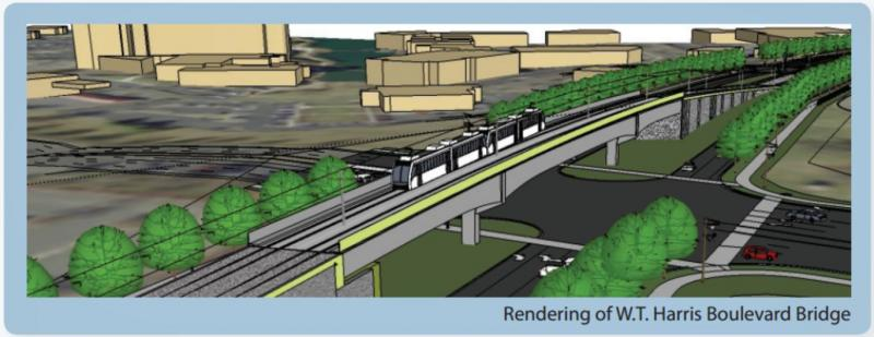 A rendering of the train tracks at W.T.Harris and North Tryon.