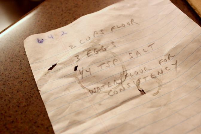 Pierogi recipe in the handwriting of Walter Gmerek, Melissa Mezger's father.