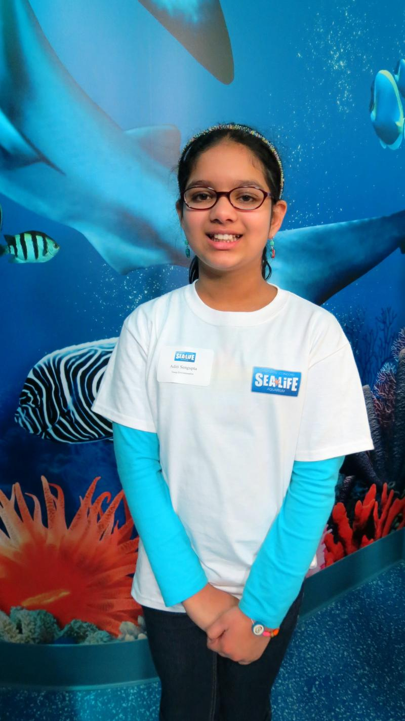 Aditi Sengupta, 9, says she likes the aquarium's message of marine conservation. She is on the aquarium's Young Environmentalist Panel, made up of students ages 8-12.
