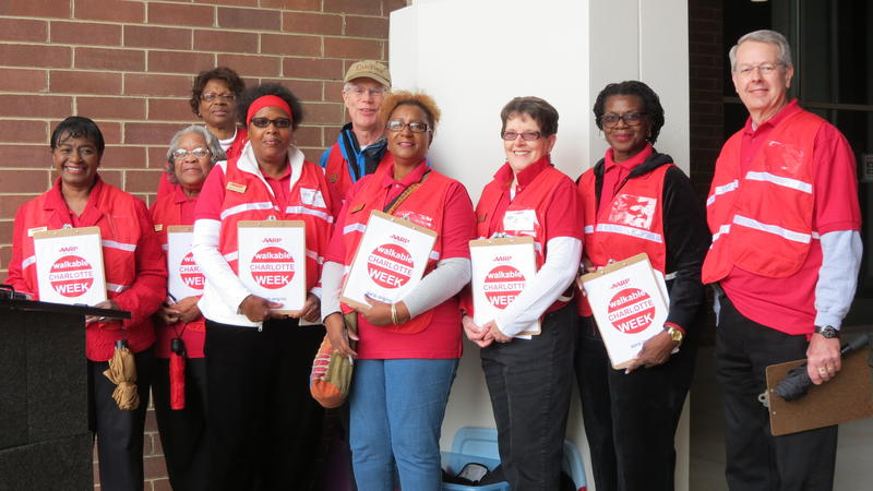 The AARP volunteers who evaluated 15 intersections during Walkable Charlotte Week. AARP is hiring an intern to analyze the data they collected for CDOT.