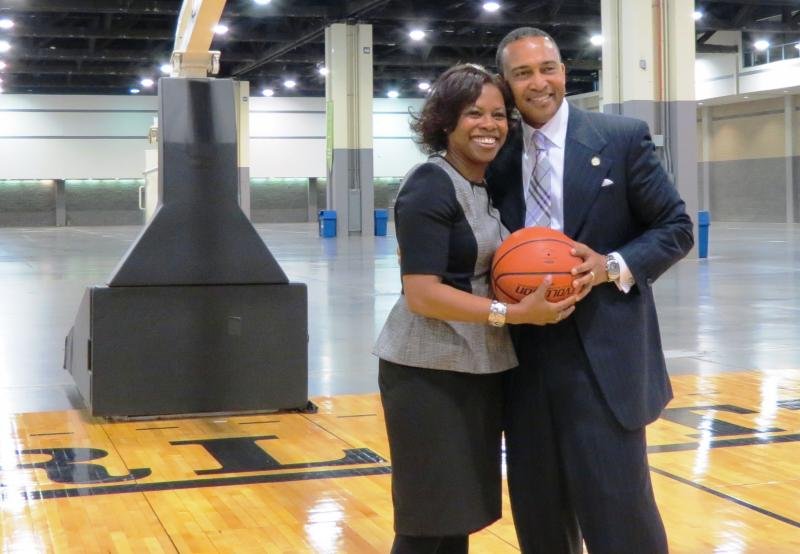 CIAA Commissioner Jacqie Carpenter shot a few hoops with Mayor Patrick Cannon after the press conference. Carpenter announced the CIAA will hold tournaments in Charlotte for at least six more years and will relocate its headquarters to Charlotte in 2016.