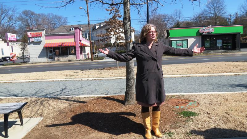 Since 2012, Beth Poovey, a landscape architect, has been working to help Hickory identify upgrades for its public spaces. Here, she shows off a bocce ball court. She says she was influenced by her time in Paris when designing parts of this greenway.