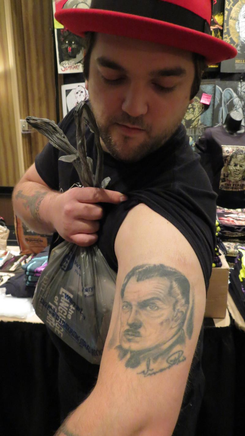 Will Bozarth loves Vincent Price, so much so he got his face tatooed on his arm.