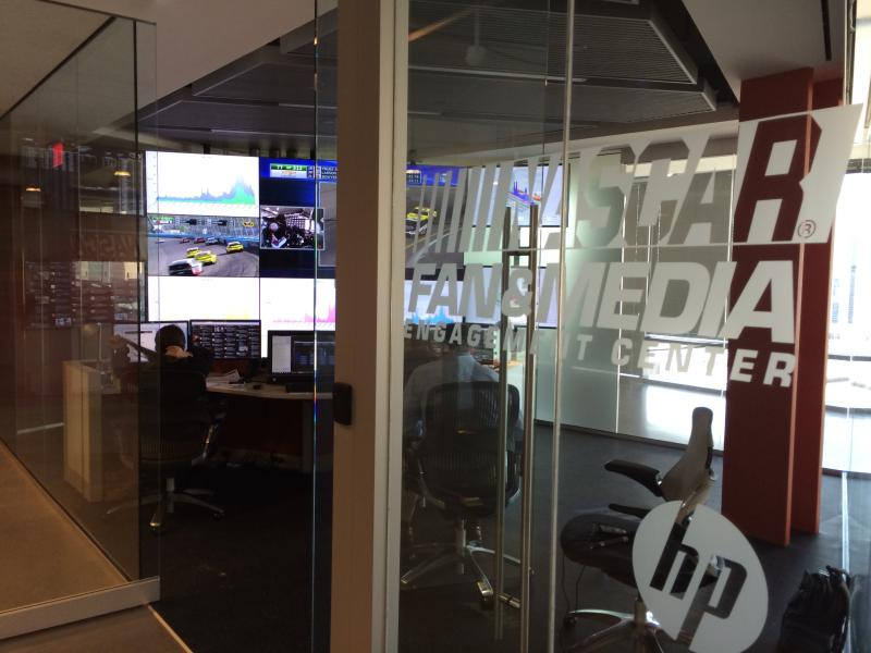 Three people staffed the NASCAR Fan and Media Engagement Center during Sunday's race.