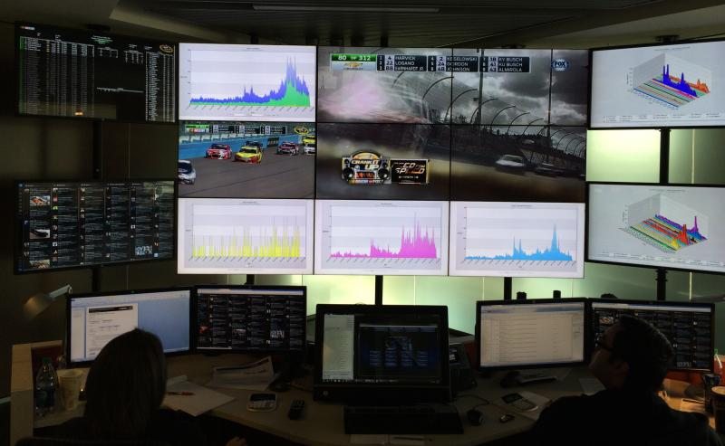 13 46-inch TV screens display charts, tweets and the races in the NASCAR Fan and Media Engagement Center.