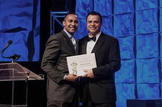 Former mayor Patrick Cannon, left, with Mohammad Jenatian in February at a gala of the Greater Charlotte Hospitality and Tourism Alliance.