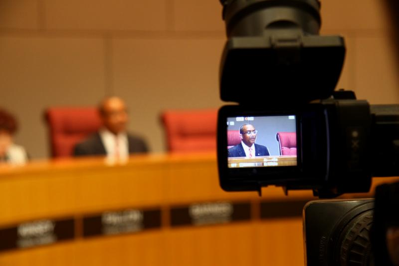 Mayor Pro Tem Michael Barnes began the session by criticizing the media saying the council was not rushing to an appointment.