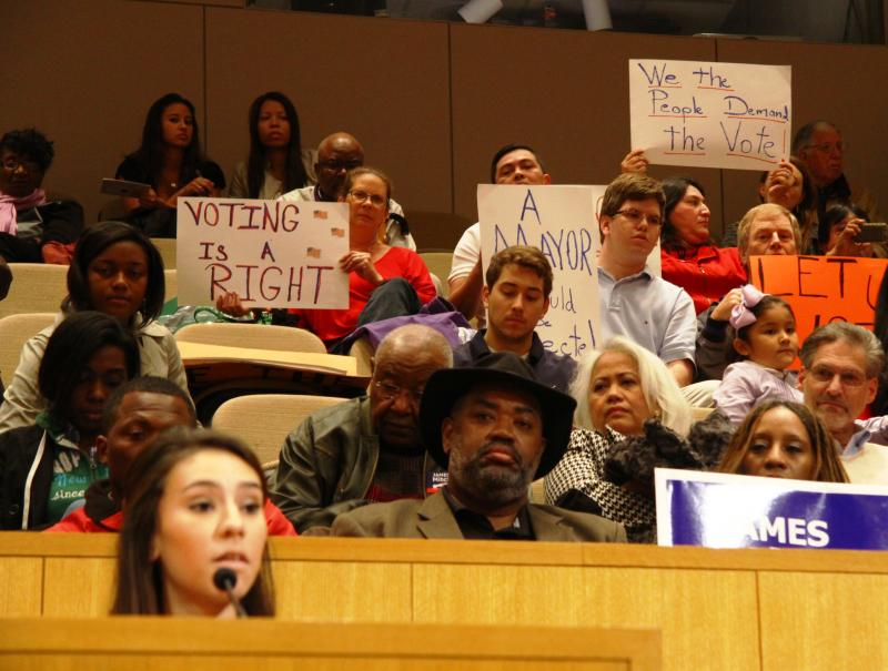 During public comment a speaker asks the council to move for a special election rather than appointing Charlotte's new mayor.