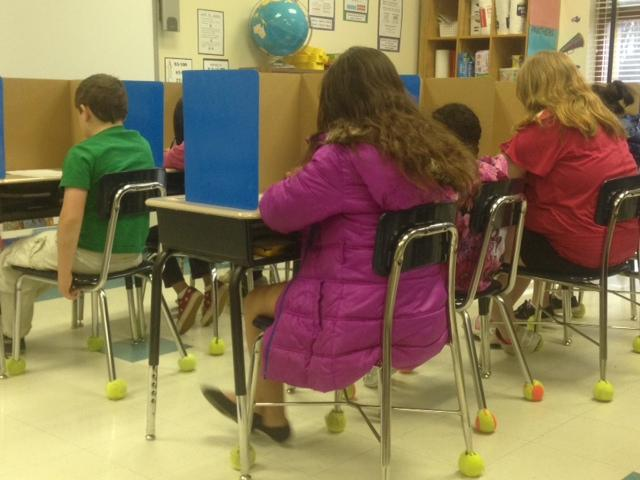 Third-graders at Park View Elementary take a practice reading porfolio test.