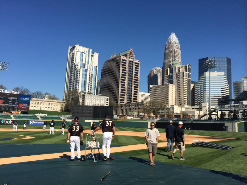 The Charlotte Knights hold their first practice at BB&T Ballpark in uptown Charlotte.