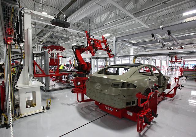 A Tesla automobile manufacturing plant.