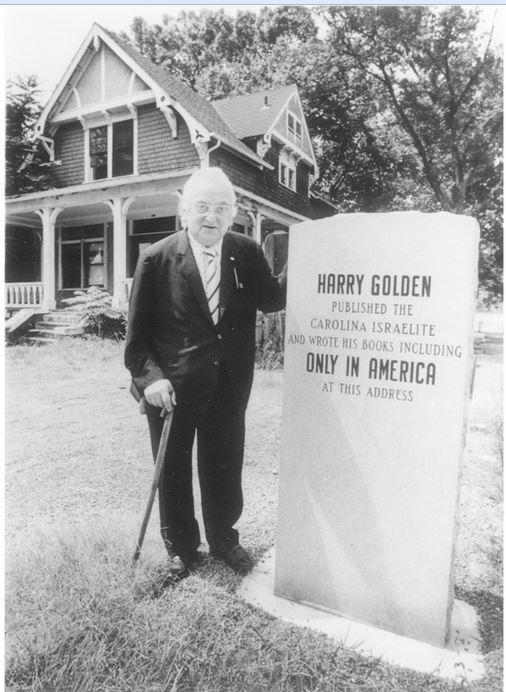 Harry Golden in front of his house and office in Charlotte.