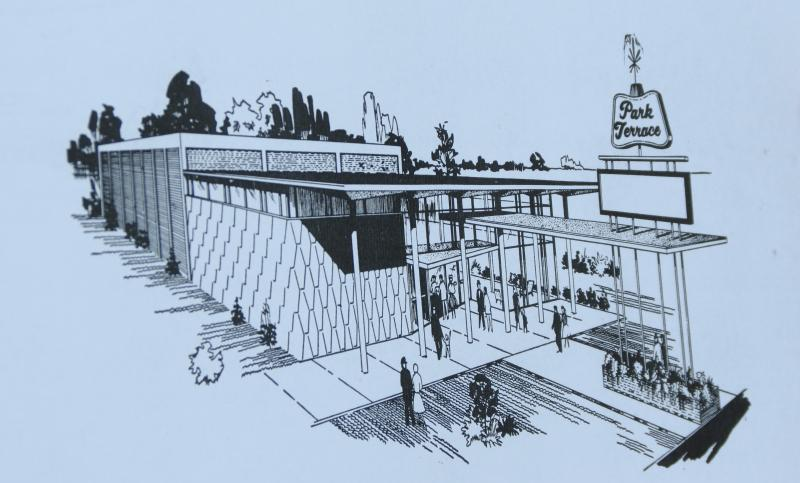 A copy of the architect's rendering of the Park Terrace when it first opened in 1964.