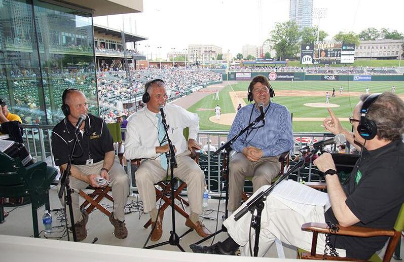 Scott Brown, Dan Rajkowski, Erik Spanberg and Mike Collins at Knights Stadium (from left to right).