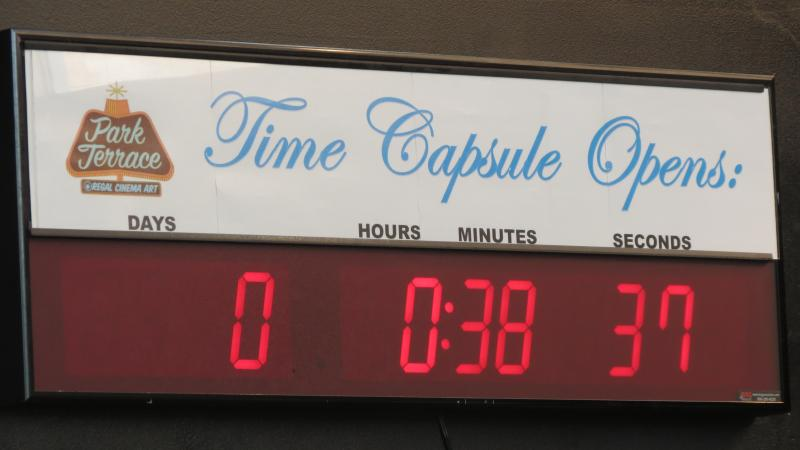 A time capsule countdown watch inside the Park Terrace movie theater.