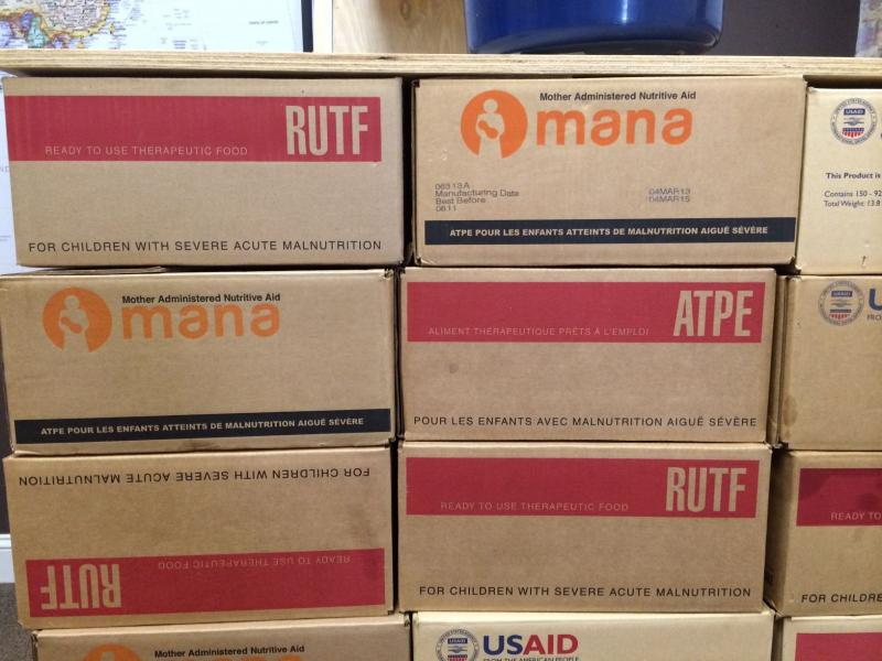 Cases of MANA's RUTF. Each box contains 150 packets, or one six-week course of thearpy.
