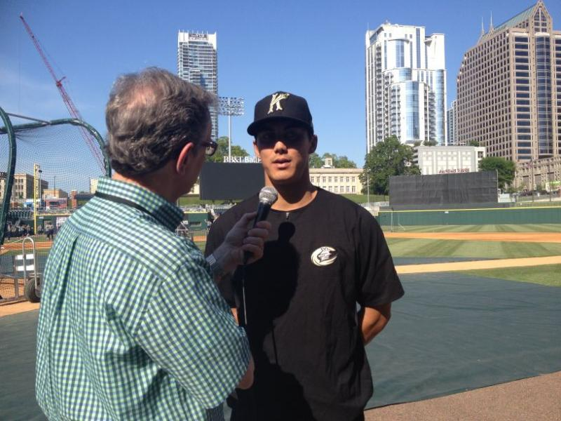 Mike Collins interviews Tyler Saladino, shortstop for the Charlotte Knights.