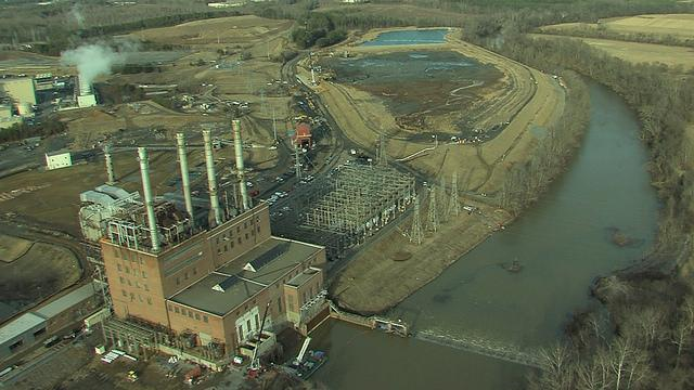 Aerial view of the retired Dan River Steam Station and ash basins.