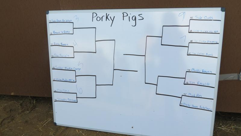A preliminary bracket for the recreational league called Porky Pigs.