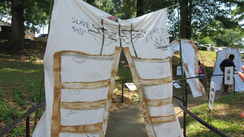 One of the passageways of the black history exhibit at the Juneteenth Festival.