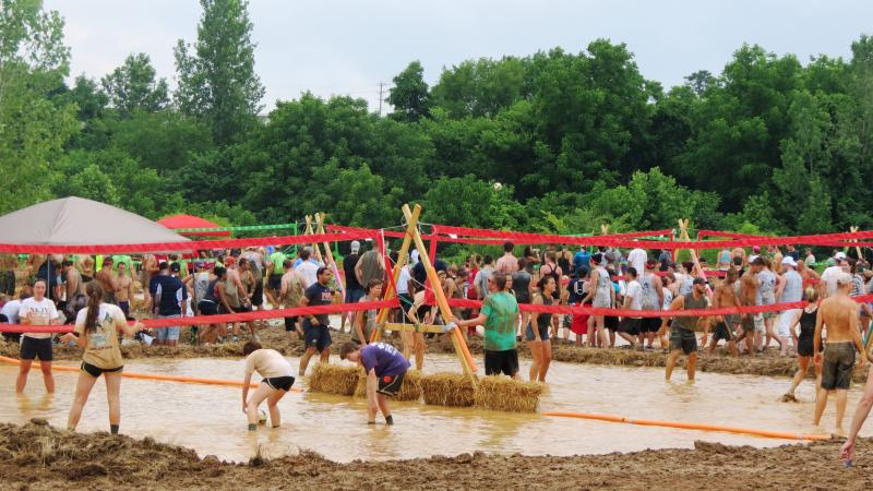 There were nine mud pits carved out for volleyball courts at the Ayrsley Town Center in South Charlotte.