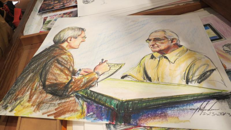 McJunkins was asked to sketch an interview in a prison between a reporter and investor Bernie Maddoff, who was convicted of fraud.