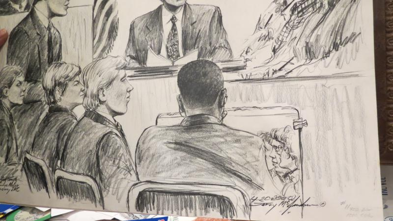 McJunkins inserts himself in this courtroom sketch.