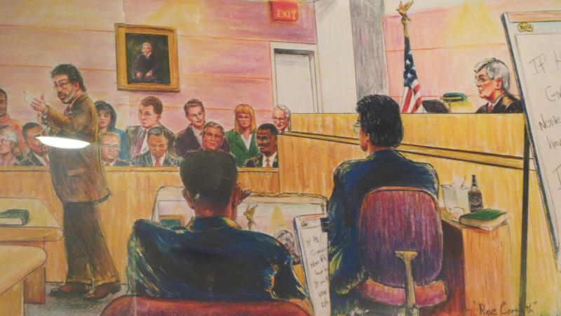 Jerry McJunkins sometimes sketches himself drawing a courtroom scene after a trial is finished.