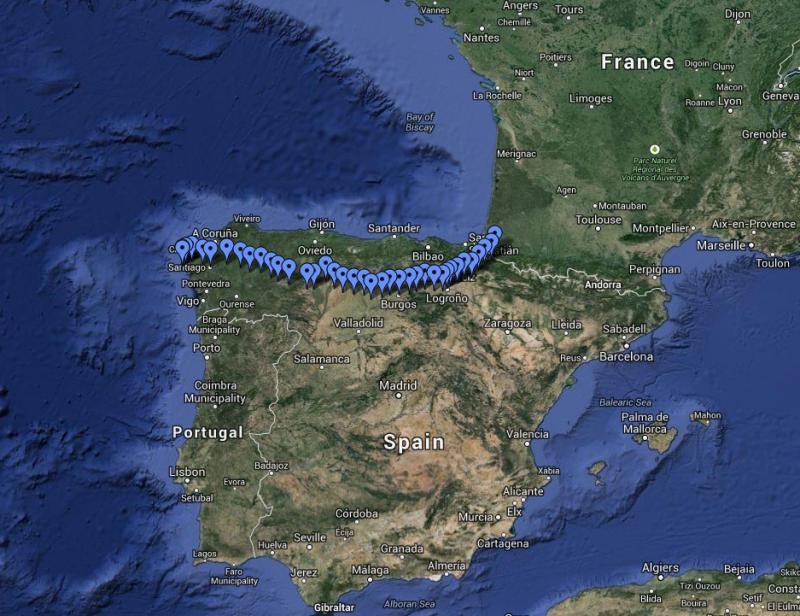 Map of El Camino de Santiago de Compostela