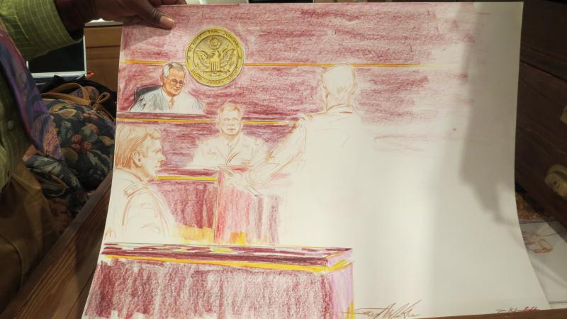 McJunkins says some of his best courtroom sketches are unfinished study shots.