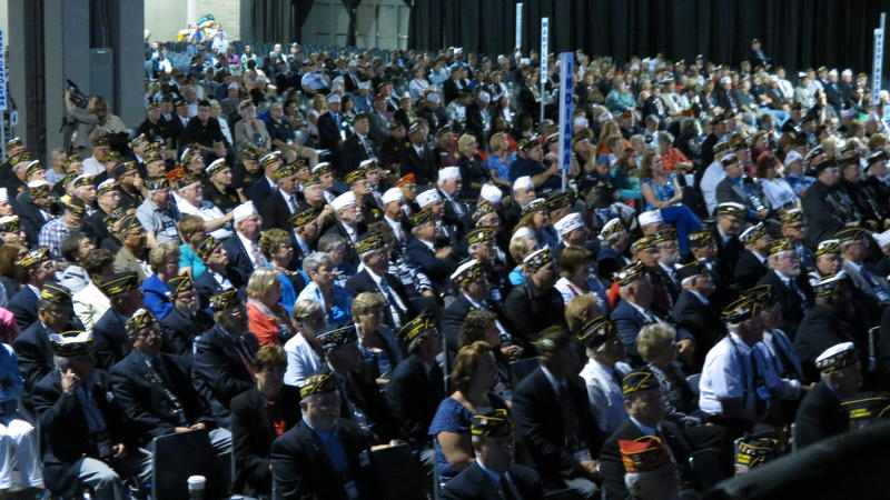 Veterans with the American Legion attending the national conference in Charlotte packed the Convention Center for President Obama's speech.