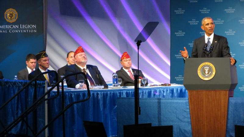 President Barack Obama introduced the new VA secretary Robert McDonald (seated right in the second row) during his address to the American Legion.